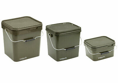 Trakker Olive Square Container Bait Bucket & Spoon *All Types* NEW Carp Fishing • 18.98£
