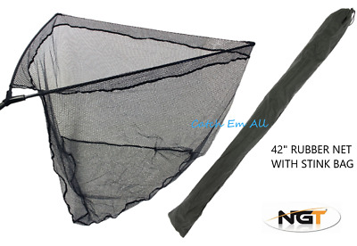 42  Inch Rubber Carp Fishing Landing Net Black Complete With Stink Bag NGT NEW • 24.95£