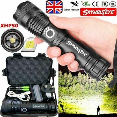 High Power 900000Lumens XHP50 Zoom Flashlight LED Rechargeable Torch Headlamp UK • 13.29£
