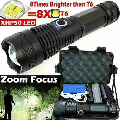 900000Lumens High Power XHP50 Zoom Flashlight LED Rechargeable Torch Headlamp • 13.98£