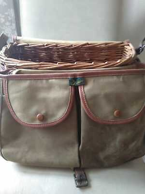 Brady Conway English Vintage Willow Fly Fishers Creel With Canvas Leather Bag • 145£