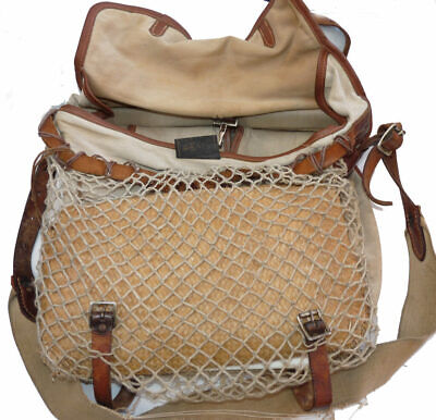 Hardy  Vintage Canvass And Leather Fishing Game Bag With Wicker Bass Bag • 99£