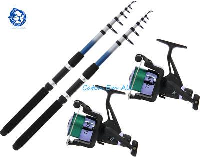 2 X 8ft Telescopic Travel Fishing Rods & TZ40R Fishing Reels With 8lb Line 1BB • 27.49£