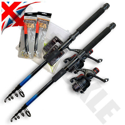 2 X Telescopic Fishing Rods & Reels 9ft With Sea Floats & Accessories Travel Rod • 19.95£
