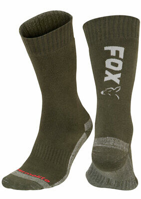 New Fox Green Silver Thermolite Insulated Socks - All Sizes Carp Fishing Clothes • 12.49£