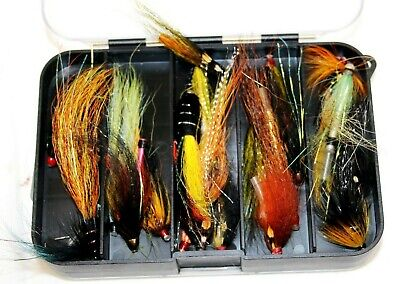 6.1/2  X 4  Double Sided Dinaca Tube Fly Fishing Box With 40 + Modern Tube Flies • 39.99£