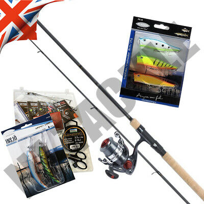 COMPLETE FISHING SET DELUXE SPINNING ROD REEL KIT SPINNERS TACKLE 7ft • 36.95£