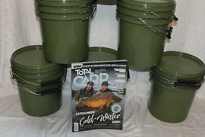 Carp Bait Buckets With Air Tight Lids. 5 Litre Capacity , Set Of 3 UK Stock • 7.99£