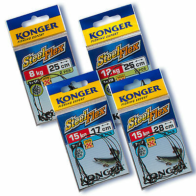 Fishing Stainless Steel X Wire Leader Traces Strong Soft Flexible Spinner Pike • 6.40£