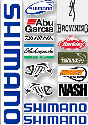 Fishing Stickers Sheet Fox Abu Shimano Nash Tackle Box Decals Ideal Seat Box • 4.99£