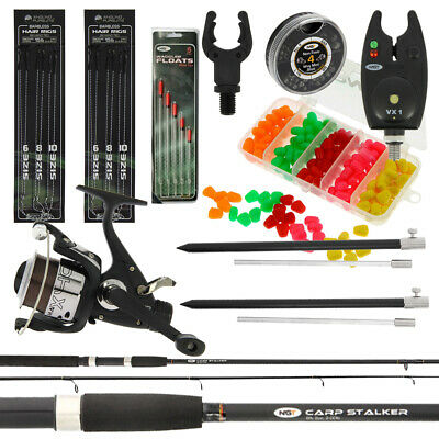 Carp Fishing Stalking Set Up With Black 8FT Rod & Reel Bite Alarm Tackle Bundle • 56.95£