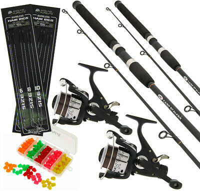 2x Black Carp Fishing Stalker 8ft 2lbTC Rods & Reels Set Up With FREE TACKLE SET • 64.45£