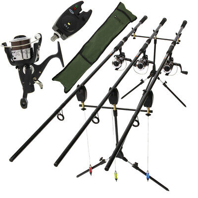 Complete Carp Fishing 3 X Rod And Reel Set Up With Pod Indicator And Bite Alarms • 112.82£