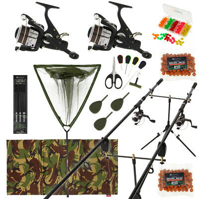 Full Carp Fishing Set Up Complete With 2 Rods Reels Alarms Landing Net Tackle • 170.67£