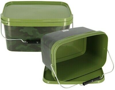 2 X Large Square Airtight Camo 12.5L NGT Fishing Bait Buckets Boilies & Pellets • 16.08£