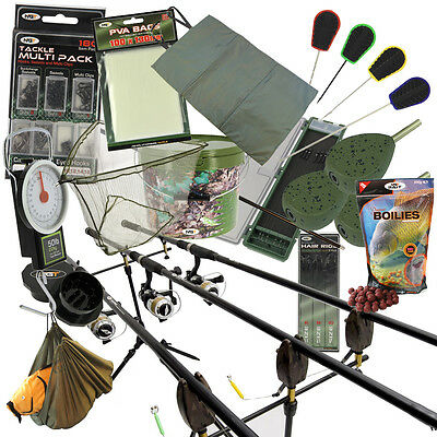 NGT Complete Carp Fishing 2/3 Rod & Reel Set + Alarms Bait Tackle Leads PVA Net • 169.26£