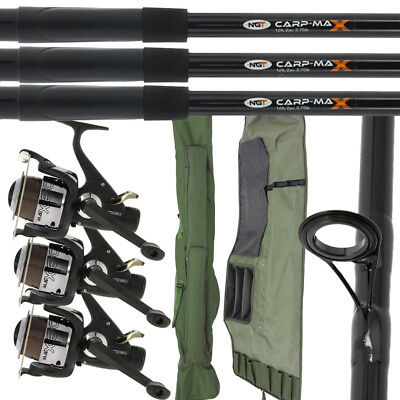2/3 NGT Fishing 12ft 2pc Carp Max Rods & 2/3 MAX60 2BB Reels + 3+3 Rod Holdall • 118.34£