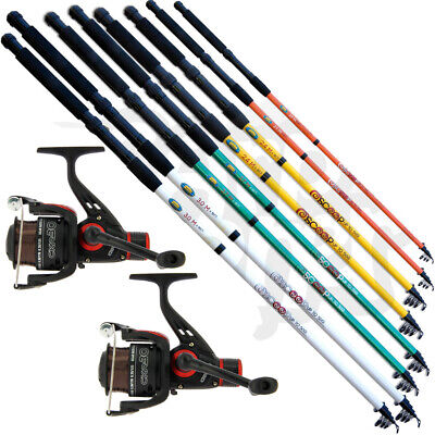 2x Telescopic Coarse Sea Fishing Travel Rod And 1BB Reel Combo + Line RRP £39.95 • 32.72£