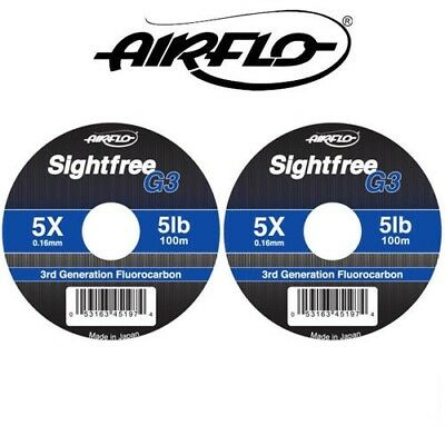 Airflo G3 Sightfree 3rd Generation Clear Fluorocarbon Fly Fishing Tippet 50m100m • 7.09£