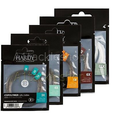 Hardy 12ft Copolymer Presentation Tapered Trout Fly Fishing Leader Line - 3 Pack • 9.99£