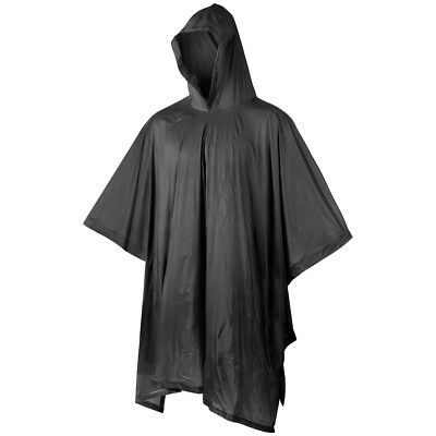 MFH Poncho Vinyl Shelter Rain Cover Military Army Hooded Waterproof Case Black • 7.95£