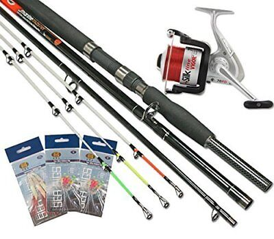 Sea Fishing Boat Beach 3pc 6/8ft Rod 3pc Tips + Sea Reel And 3x Packs Feathers • 53.21£