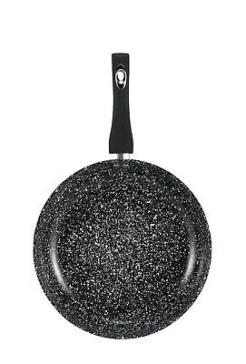 Non Stick Black Frying Pan GRANITE Marble Coated For Gas Electric Induction Hob • 11.99£