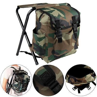 2in1 Oxford Fishing Tackle Backpack Bag Camping Foldable Stool Seat Chair Set • 17.89£