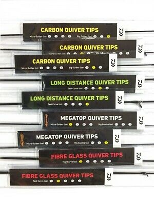 Daiwa Replacement Quiver Tips Glass Megatop Carbon Distance Feeder Fishing • 18.99£