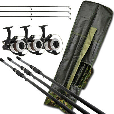 3x Carp Fishing Rods 12ft & 3x Bait Runner Reels With Line &  Rod Holdall Bag  • 109.21£