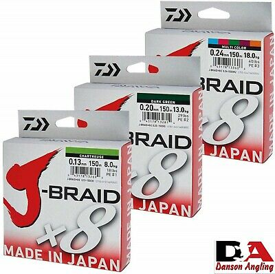 DAIWA J-BRAID X8 FISHING LINE 150m SPOOL ALL COLOURS & BREAKING STRAINS • 14.99£