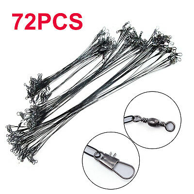 72PCS Fishing Wire Spinning Trace Lures Leader Stainless Lure 16/23/31cm • 6.89£