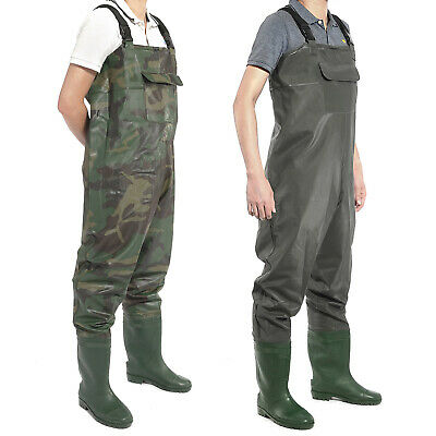PVC Chest Waders 100% Waterproof Fly Coarse Fishing Wader Boot Full Size • 23.99£
