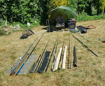 Fishing Tackle Job Lot, Rods, Poles,Reels, Boxes, Luggage, Nets. • 34£