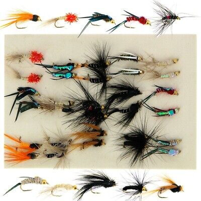 30 X Mixed Trout Flies Flys Gold Headed Nymphs Set For Fly Fishing • 8.95£