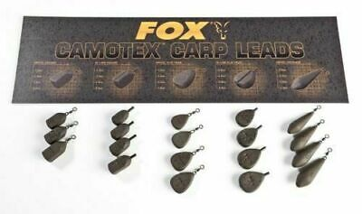 Fox Camotex Carp Fishing Coated Leads Inline & Swivel X5 All Types & Sizes *New* • 5.99£