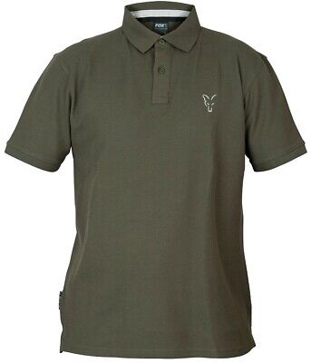 Fox Carp Fishing Clothing - Green & Silver Collection Polo Shirts - All Sizes • 19.99£