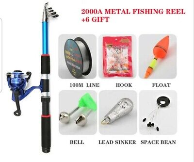 Telescopic Fishing Rod Reel Combo Full Kit Spinning Reel Gear Pole Set + 6 Gifts • 24.95£