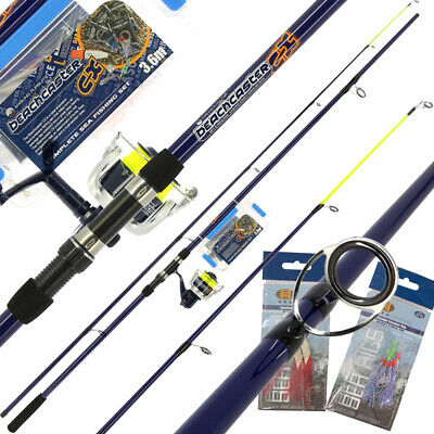 Sea Fishing 12ft 2pc Beachcaster Rod And Reel Set Accessory Box Combo And Tackle • 44.95£
