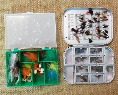 Vintage Fly Fishing Box X 2. Includes A Quantity Of Flies.  • 10£