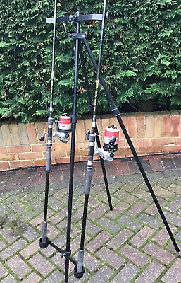 FISHING BEACHCASTER  TRIPOD / ROD REST UP TO 175 Cm With Free Bag In Black New • 29.99£