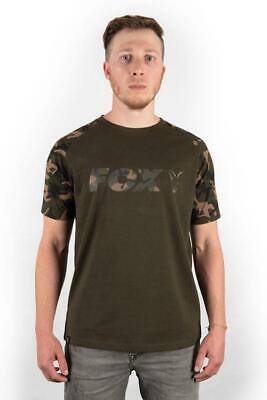 Fox Raglan Khaki Camo Sleeve T-Shirt / Carp Fishing Clothing • 16.99£