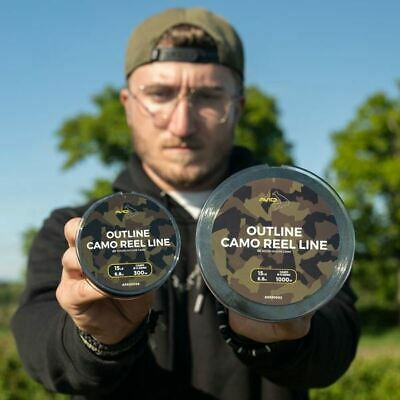 Avid Carp Outline Camo Reel Line Carp Fishing Mono Mainline 300m Or 1000m • 25.99£