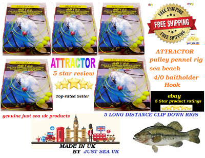 5x Beach Pennel Pulley Rigs Top Cod Catcher Quality Rigs Pollock Bass Rays Cod// • 5.35£