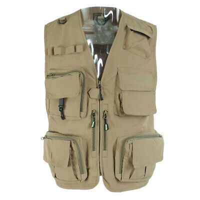 Multi-Pocket Quick-Dry Jacket Fishing Photography Outdoor Vest 4XL • 18.17£