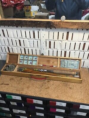 Old Vintage Split Cane Fly + Reel + Some Tackle In Wooden Box • 30£