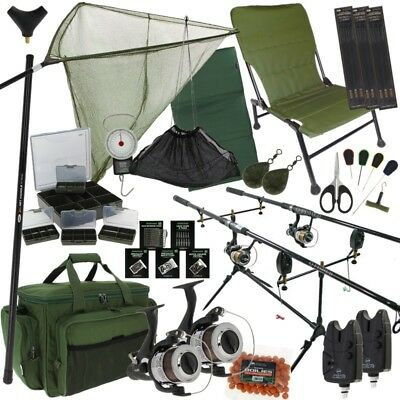 Full Carp Fishing Set Up Rods Reels Hair Rigs Bite Alarms Holdall Fishing Chair • 249.95£