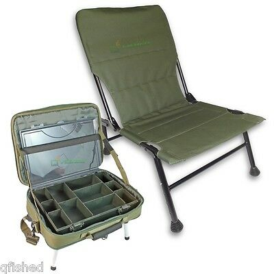 Carp Fishing Chair With Extendable Front Legs + Tackle Box Case Bivvy Table • 67.07£