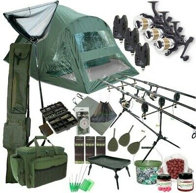 3 Rod Carp Set Up. 2 Man Double Skin Carp Fishing Bivvy Set. Rods Reels Bait NGT • 319.95£
