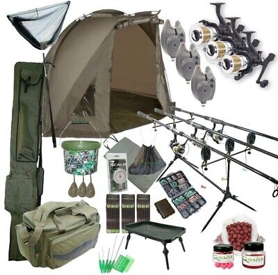 3 Rod Carp Set Up With Shelter Bivvy Tent. Carp Fishing Set. Rods Reels Bait Bag • 299.95£